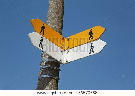 Blank direction signs on a post