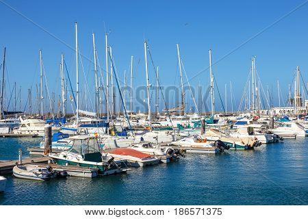 Playa Blanca, Lanzarote, 04 April, 2017: Boats And Yachts In Rubicon Marina, Lanzarote, Canary Islan
