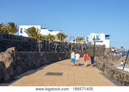 Playa Blanca, Lanzarote, 03 April, 2017: Promenade In Marina Rubicon In Playa Blanca, Lanzarote, Can