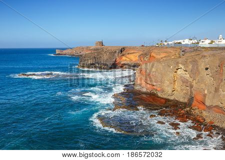 Castle Castillo De Las Coloradas On Cliff In Playa Blanca, Lanzarote, Canary Islands, Spain