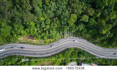 Car And Road On The Hill In Phuket, Thailand. Aerial View From Flying Drone