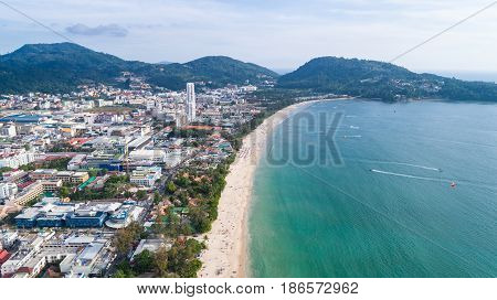 Patong Beach In Phuket Province, Southern Of Thailand. Patong Beach Is A Very Famous Tourist Destina