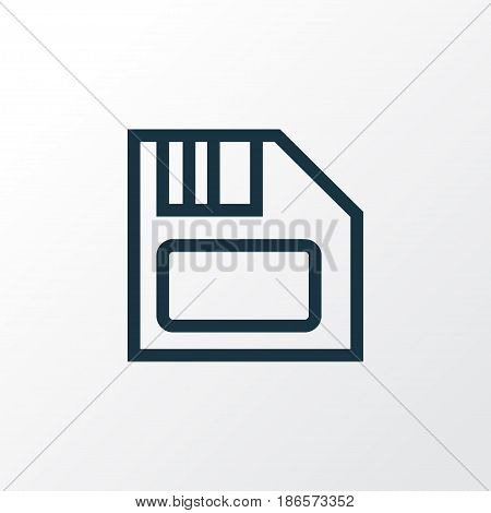 Diskette Outline Symbol. Premium Quality Isolated Floppy  Element In Trendy Style.