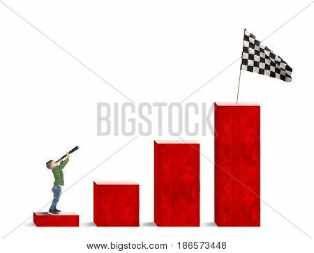 Child looks with binocular at the flag from the bottom of the statistic