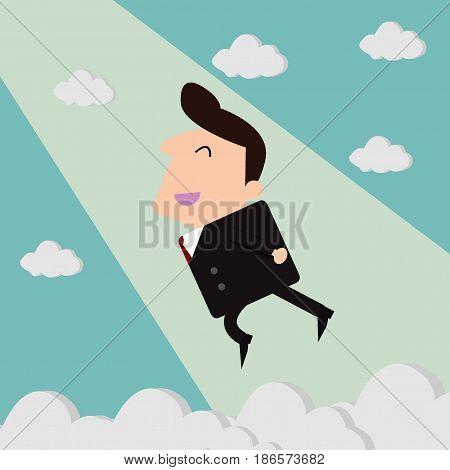 Happy businessman and freedom, businessman flying freedom