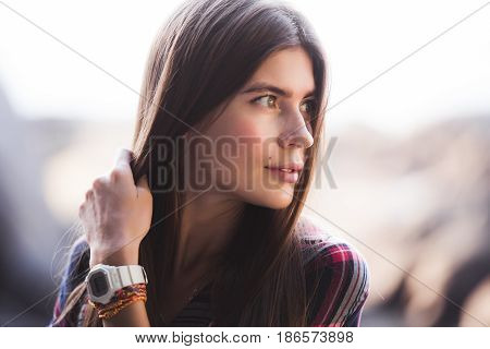 emotional portrait of Fashion stylish portrait of pretty young hipster blonde woman, soft colors.