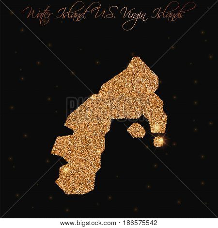 Water Island, U.s. Virgin Islands Map Filled With Golden Glitter. Luxurious Design Element, Vector I