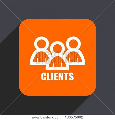 Clients orange flat design web icon isolated on gray background