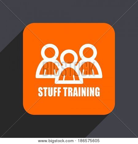 Stuff training orange flat design web icon isolated on gray background