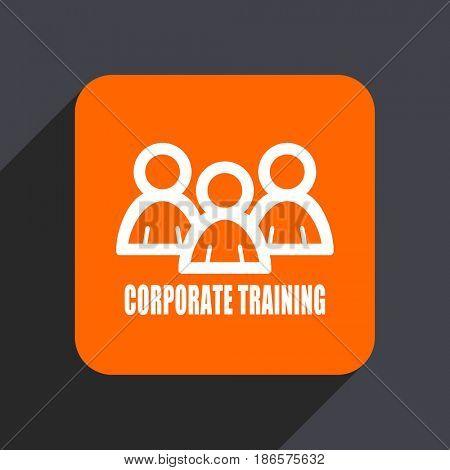 Corporate training orange flat design web icon isolated on gray background