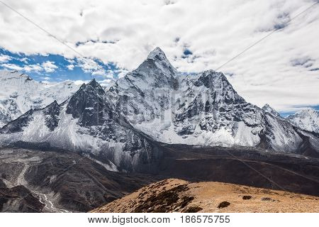 Beautiful View Of Ama Dablam Mountain Summit On The Famous Everest Base Camp Trek In Himalayas, Nepa