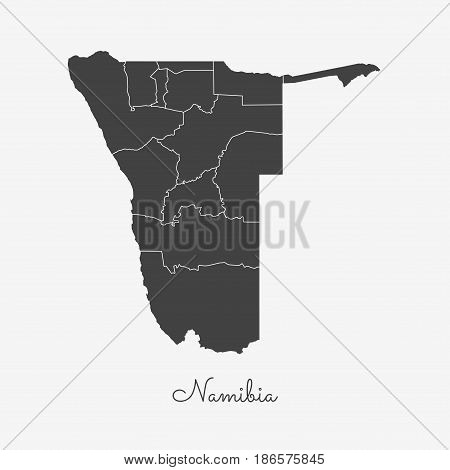 Namibia Region Map: Grey Outline On White Background. Detailed Map Of Namibia Regions. Vector Illust