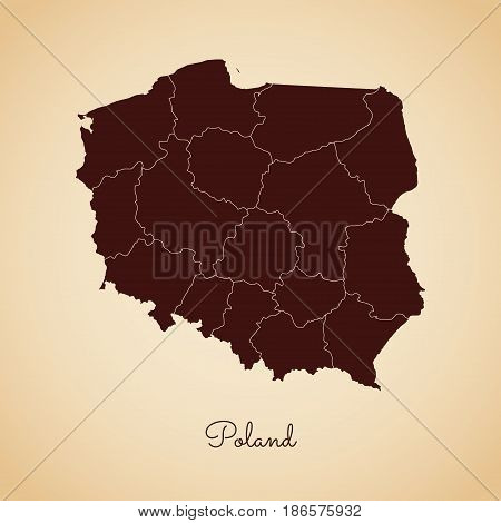 Poland Region Map: Retro Style Brown Outline On Old Paper Background. Detailed Map Of Poland Regions
