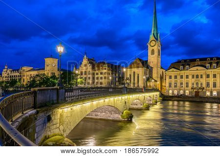 Night view of historic Zurich city center on summer, Canton of Zurich, Switzerland.