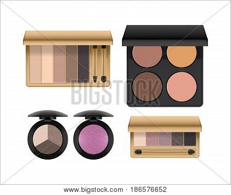 Eye shadow makeup product set, cosmetic apply on eyelids, open palette of natural colors, compact kit. Beauty and care concept, isolated on white background. Vector illustration, realistic
