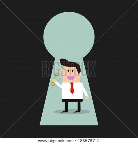 Businessman & key - Keyhole -Illustration , Businessman  key