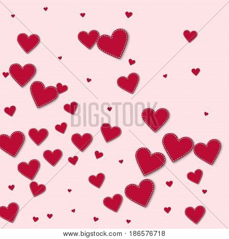Red Stitched Paper Hearts. Abstract Mess On Light Pink Background. Vector Illustration.