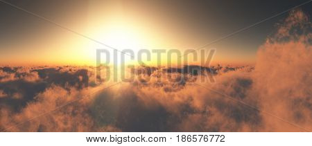Sky Sunset Above The Clouds - 4K 300 DPI - 3D Rendering