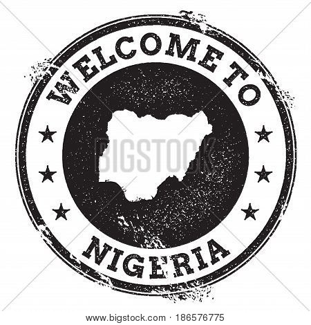Vintage Passport Welcome Stamp With Nigeria Map. Grunge Rubber Stamp With Welcome To Nigeria Text, V