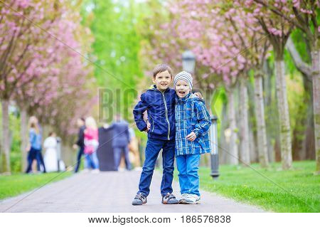 Young boys smiling while standing on lane in spring park