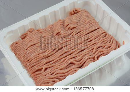 Raw ground turkey meat in butcher package