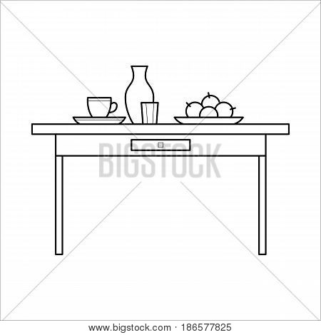Kitchen table with utensils and ingredients for cooking in thin line style. Element of interior furniture. Linear flat vector illustration isolated on background.