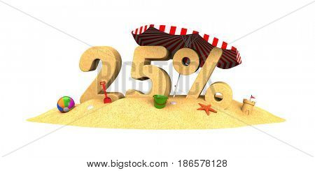 Sale season - 25% - the digits of sand. 3d illustration