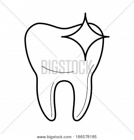 Healthy clean tooth icon, sparkling after brushing, good for teeth poster for medical clinic, professional whitening image, stomatology pictogram, beauty and care concept. Vector illustration