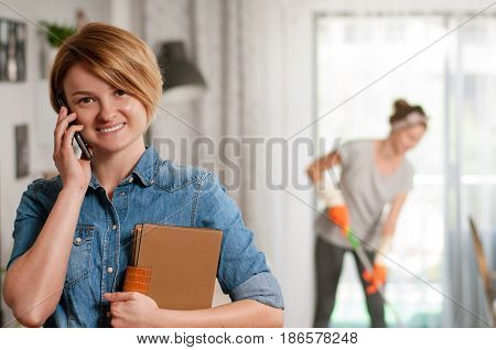 Cleaning Concept.  Cleaning Service. Woman Is Mopping Floor