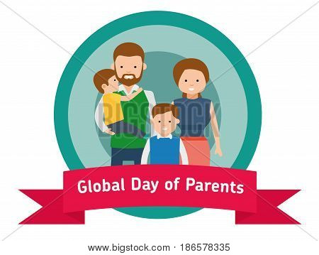 Global Day of Parents banner or sticker. Happy Parents with children. Cute family. Flat vector illustration.