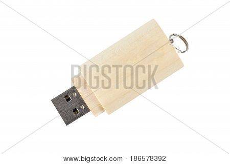 Wooden Usb Flash Memory Isolated On White