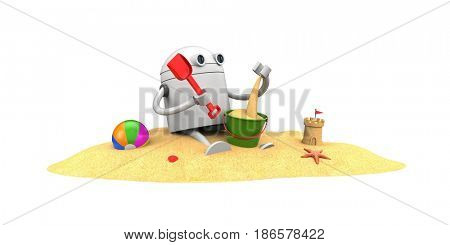Robot plays in the sand with toys. 3d illustration