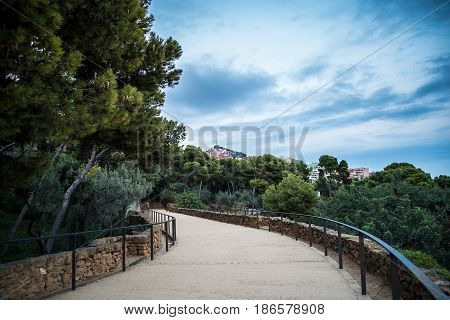 Barcelona Spain Europe Walkway Pathway in Park