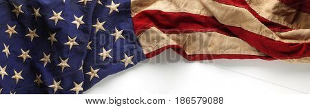 Vintage red, white, and blue American flag for Memorial day or Veteran's day background