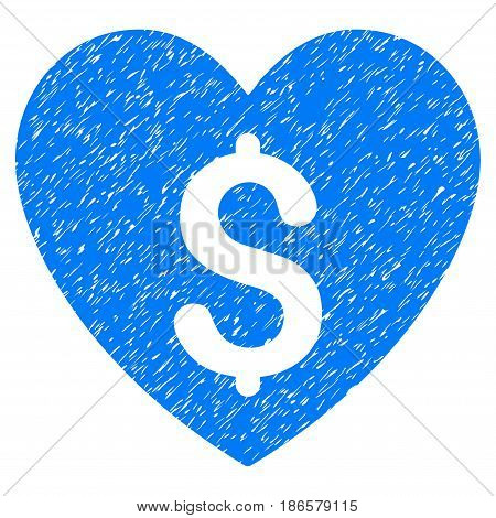 Grunge Paid Love icon with grunge design and scratched texture. Unclean vector blue pictogram for rubber seal stamp imitations and watermarks. Draft sticker symbol.