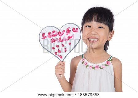 Asian Little Chinese Girl Holding Greeting Card For Mother's Day