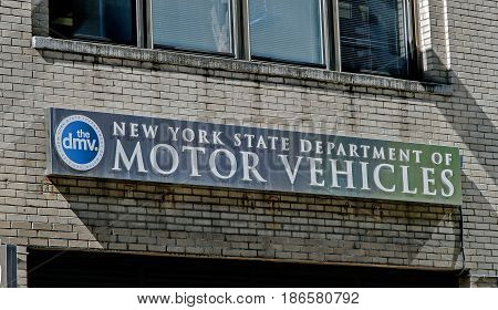 New York May 08 2017: The sign over one of the NYS DMV offices in Manhattan.