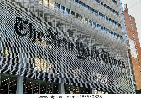 New York May 08 2017: The logo on an exterior wall of The New York Times newspaper headquarters in Manhattan.