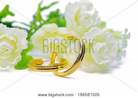 Gold Pendant Cameo Jewelry In Ring Shape With Flowers Putting Isolated On White