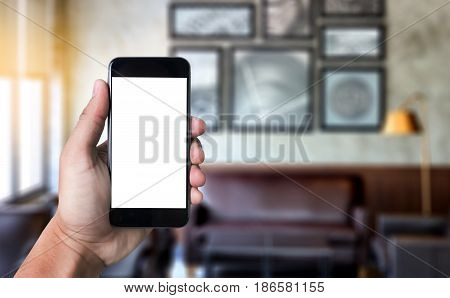 Mockup Mobile  Image Of Hand Phone With Blank White Screen Vintage Tone.