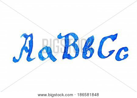 Caption alphabet in blue ink on a white background. ABC