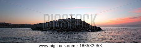 Sunrise over Breakwater / jetty for the Puerto San Jose Del Cabo harbor / marina in Baja Mexico BCS
