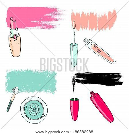 Cosmetic tools with the grunge trace. Vector illustration.