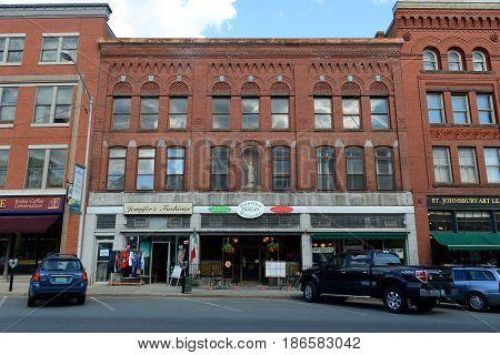 ST. JOHNSBURY, VT, USA - JUL.11, 2014: Historic Buildings on Railroad Street in downtown St. Johnsbury, Vermont, USA.