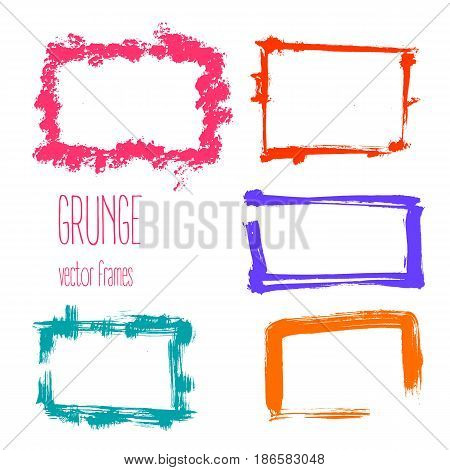 Vector grunge rectangle frames. Hand drawn art creative collection.