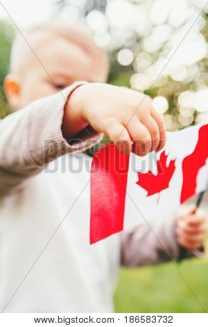 Closeup portrait of little blond Caucasian boy child hand holding Canadian flag with red maple leaf in park outside celebrating Canada Day