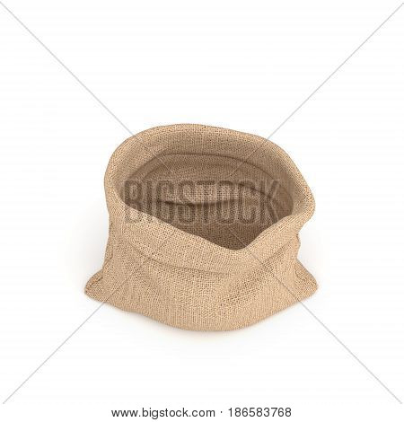 3d rendering of open burlap money bag isolated on white background. Earning and spending money. Wealth and poverty. Bank deposits.
