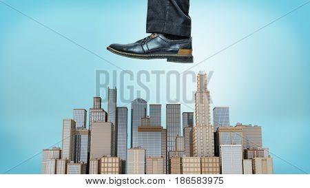 A giant male shoe ready to stomp at a small cluster of business towers on blue background. Business and competition. Fight for the big clients. International business crisis.