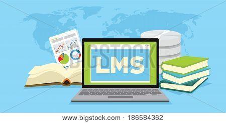 LMS learning management system online based vector illustration