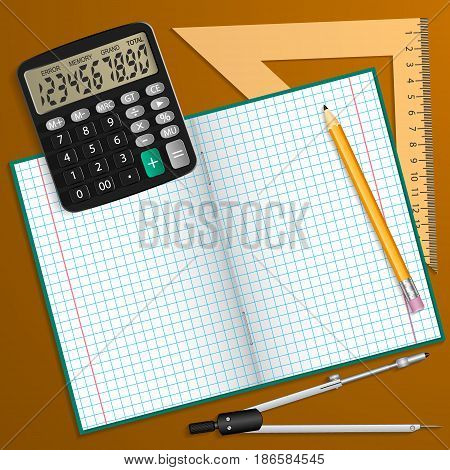 Vector illustration on the theme of the school. Notebook pencil calculator ruler and compass laid on the table.